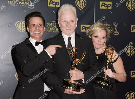 "Christian Jules Le Blanc, far left, poses with Anthony Geary and Maura West, winners of the awards for outstanding lead actor and actress in a drama series for ""General Hospital"", at the 42nd annual Daytime Emmy Awards at Warner Bros. Studios, in Burbank, Calif"