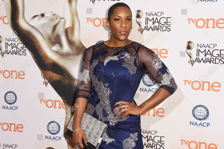 Liv Warfield attends the 46th NAACP Image Awards Nominees' Luncheon at The Beverly Hilton Hotel, in Beverly Hills, Calif