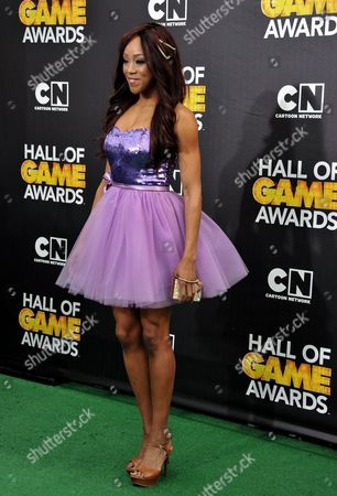 Stock Picture of Alicia Fox arrives at the 4th Annual Hall of Game Awards on Saturday, Feb, 15, 2014 in Santa Monica, Calif