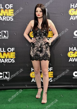 Stock Photo of Dakota Hood arrives at the 4th Annual Hall of Game Awards on Saturday, Feb, 15, 2014 in Santa Monica, Calif