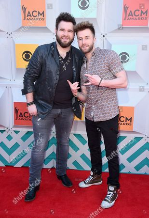 Zach Swon, left, and Colton Swon, of The Swon Brothers, arrive at the 51st annual Academy of Country Music Awards at the MGM Grand Garden Arena, in Las Vegas