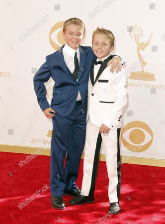 Mason Vale Cotton and Maxwell Perry Cotton arrive at the 65th Primetime Emmy Awards at Nokia Theatre, in Los Angeles