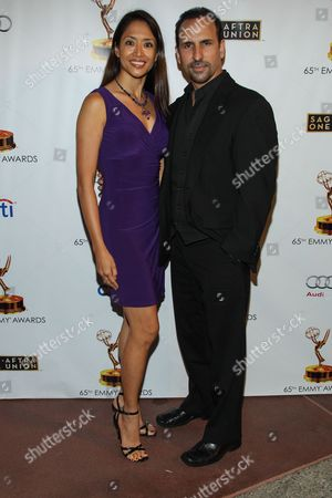 From left, actors Chuti Tiu and Oscar Torre arrive at the 65th Emmy Awards Nomination Celebration at the Academy of Television Arts and Sciences on in North Hollywood, California
