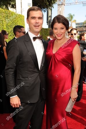 Hugh Acheson and Gail Simmons arrive at the 65th Primetime Emmy Awards at Nokia Theatre, in Los Angeles
