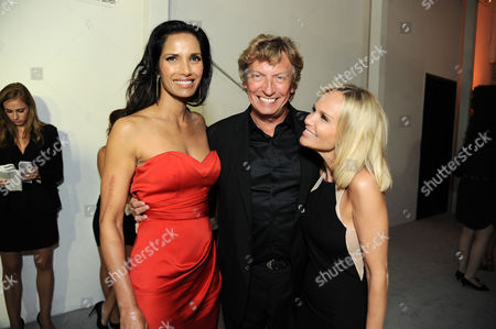 From left, Padma Lakshmi and Nigel Lythgoe, and Kristen Chenoweth arrive at the 2013 Entertainment Weekly Pre-Emmy Party, presented by L'Oreal Paris and bebe at Fig & Olive, in Los Angeles