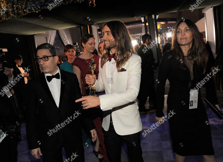 Jason Weinberg, left and Jared Leto with his award for Best Performance by an Actor in a Supporting Role for 'Dallas Buyers Club' attend the Governors Ball after the Oscars, at the Dolby Theatre in Los Angeles
