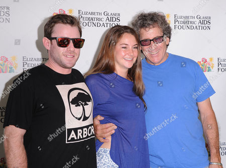 """From left, Jake Glaser, Shailene Woodly, and Michael Glaser attend """"A Time for Heroes"""" celebrity picnic on in Los Angeles"""