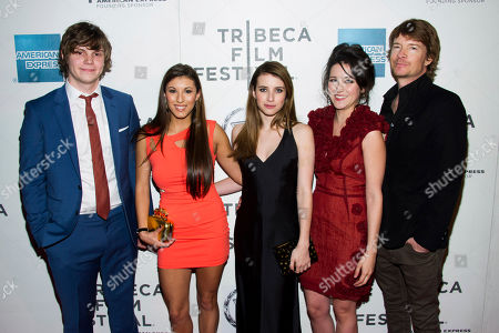 "Evan Peters, left, Leah Lauren, Emma Roberts, Shannon Woodward and Scott Coffey attend the premiere of ""Adult World"" during the 2013 Tribeca Film Festival on in New York"