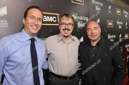 """From left, AMC president Charlie Collier, Vince Gilligan and AMC Head Of Original Programming, Joel Stillerman attend AMC's """"Breaking Bad"""" Premiere and After Party on in San Diego, CA"""