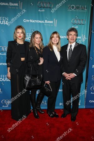 From left, Cody Horn, Cassidy Horn, Cindy Horn, and Alan Horn arrive at Backstage At The Geffen Gala, in Los Angeles