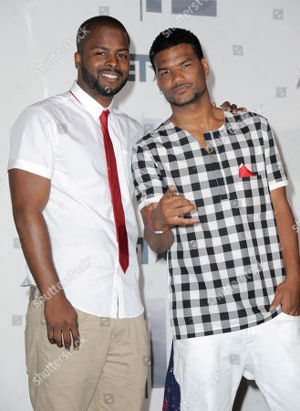 Craig Wayans, left, and Damien Dante Wayans pose backstage at the BET Awards, in Los Angeles