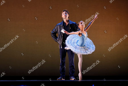 Maxim Beloserkovsky watches Adriana Arias rehearse at Beyond the Ballet Presented by Bright Future International at the Beacon Theater on Wednesday, May 8th, 2013 in New York