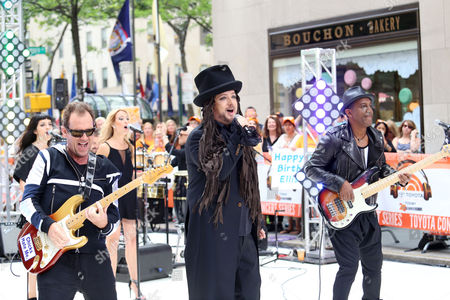 """From left, Roy Hay, Boy George and Mikey Craig of Culture Club perform on NBC's """"Today"""" show at Rockefeller Plaza, in New York"""