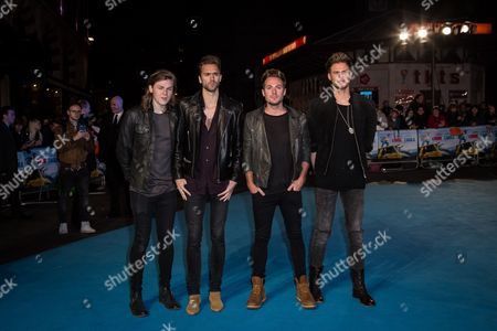 From left, Joel Peat, Andy Brown, Adam Pitts and Ryan Fletcher of Lawson pose for photographers upon arrival at the premiere of the film 'Eddie the Eagle' in London