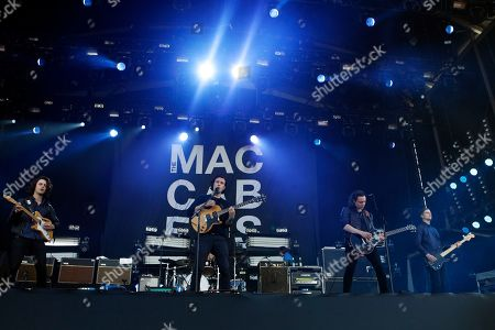 Felix White, Orlando Weeks, Hugo White and Rupert Jarvis of The Macabees perform at Isle of Wight Festival in Newport on the Isle of Wight on . Thousands of people are to attend the three day event with headliners, the Stone Roses, the Killers and Bon Jovi