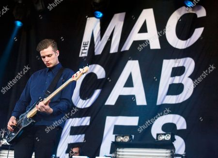 Rupert Jarvis of The Macabees performs at Isle of Wight Festival in Newport on the Isle of Wight on . Thousands of people are to attend the three day event with headliners, the Stone Roses, the Killers and Bon Jovi
