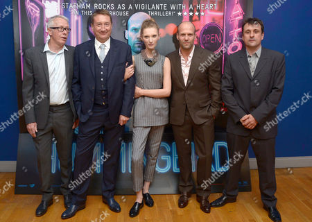 Paul Webster, Steven Knight, Agata Buzek, Jason Statham and Guy Heeley arrive at the world premiere of The Hummingbird at the Odeon West End in London