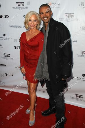 Stock Picture of Nancy Alspaugh-Jackson and Shemar Moore attend the Denim and Diamonds fundraiser at Calamigos Ranch, in Malibu, Calif