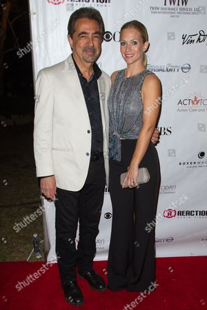 Joe Mantegna and AJ Cook attend the Denim and Diamonds fundraiser at Calamigos Ranch, in Malibu, Calif