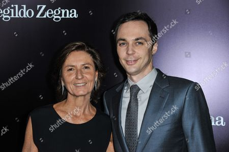 Anna Zegna, left, and Jim Parsons arrive at the Ermenegildo Zegna Boutique opening on in Beverly Hills, Calif