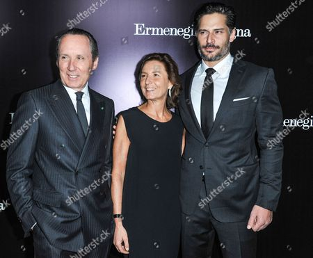 From left, Anna Zegna, Gildo Zegna, and Joe Manganiello arrive at the Ermenegildo Zegna Boutique opening on in Beverly Hills, Calif