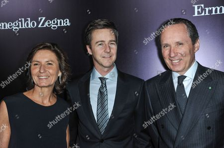 From left, Anna Zegna, Edward Norton, and Gildo Zegna arrive at the Ermenegildo Zegna Boutique opening on in Beverly Hills, Calif