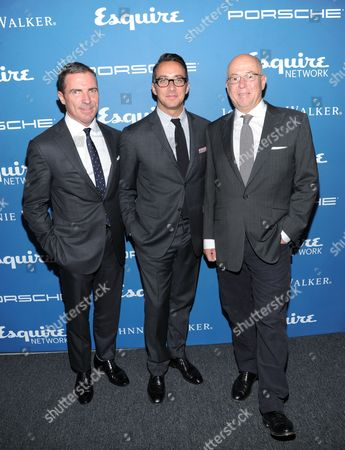 Esquire publisher Jack Essig, left, Esquire Network General Manager Adam Stotsky, and Esquire Editor-in-Chief David Granger, right, attend the Esquire 80th Anniversary and Network Launch Event on in New York
