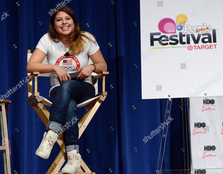 Olympic boxer Marlen Esparza speaks to students about bullying during Festival People en Espanol Welcome Day, at Lanier High School in San Antonio