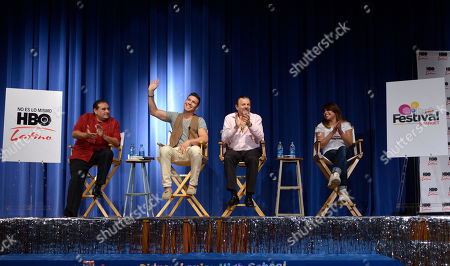 Youth boxing advocate Jason Mata (from left), middleweight boxing champion Sergio Martinez, of Argentina, Martinez' translator, and Olympic boxer Marlen Esparza, participate on a panel to discuss bullying during Festival People en Espanol Welcome Day, at Lanier High School in San Antonio