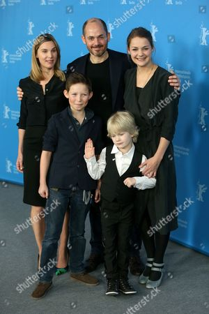 From left, screenwriter Nele Mueller-Stoefen, Edward Berger, Luise Heyer, Ivo Pietzcker and Georg Arms pose for photographers at the photo call for the film Jack during the International Film Festival Berlinale in Berlin