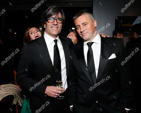 Stock Image of From left, Melanie Spiller, director Michael Spiller, Andrea Anders, and actor Matt LeBlanc attend the Fox Golden Globes Party, in Beverly Hills, Calif