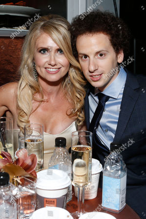 Stock Photo of Josh Sussman, right, and Tess Hunt attend the Fox Golden Globes Party, in Beverly Hills, Calif
