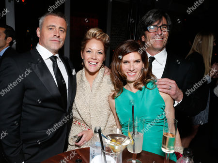 From left, Actor Matt LeBlanc, Andrea Anders, Melanie Spiller and director Michael Spiller attend the Fox Golden Globes Party, in Beverly Hills, Calif