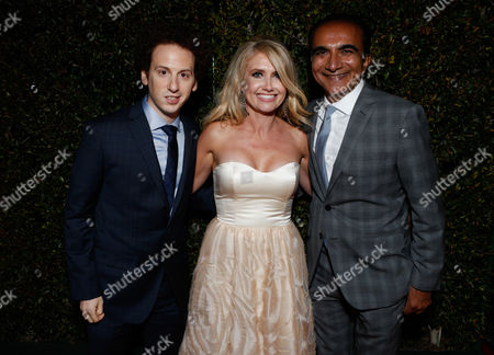 From left, actors Josh Sussman,Tess Hunt and Iqbal Theba attend the Fox Golden Globes Party, in Beverly Hills, Calif