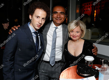 From left, actors Josh Sussman, Iqbal Theba and Lauren Potter attend the Fox Golden Globes Party, in Beverly Hills, Calif