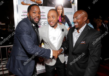 """Director/Producer David Talbert, Terrence J. and Nephew Tommy attend Fox Searchlight's Los Angeles Premiere of """"Baggage Claim"""", on in Los Angeles"""
