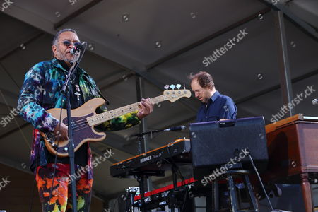 Stock Picture of The Meter Men featuring Zigaboo Modeliste, Leo Nocentelli and George Porter, Jr. with special Guest Page McConnell perform at The New Orleans Jazz & Heritage Festival on in New Orleans, Louisiana