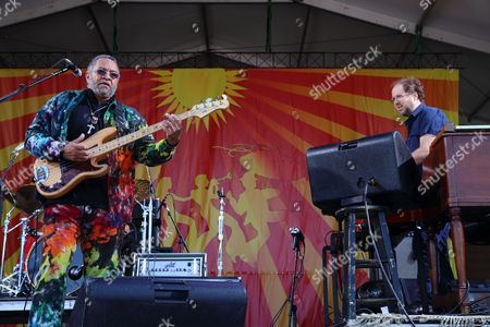 The Meter Men featuring Zigaboo Modeliste, Leo Nocentelli and George Porter, Jr. with special Guest Page McConnell perform at The New Orleans Jazz & Heritage Festival on in New Orleans, Louisiana