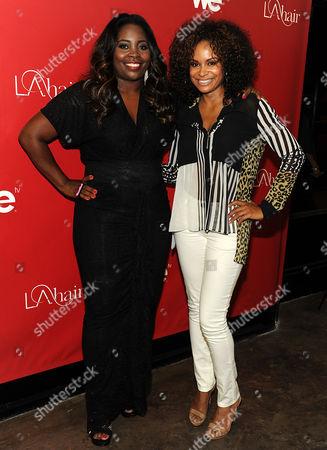 Kim Kimble (L) and Joyful Drake attend the WEtv LA Hair Season 2 Screening party at Kimble Hair Studio on in Los Angeles, California