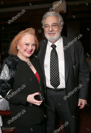 Carol Connors and Placido Domingo attend LA Opera's Hercules vs Vampires Opening Night at the Dorothy Chandler Pavilion on in Los Angeles