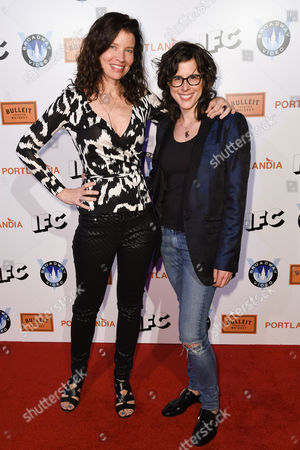 Jamie Babbit, left and Karey Dornetto, right arrive at Portlandia Season 5 Premiere Presented by Bulleit Bourbon at The Theatre at Ace Hotel, in Los Angeles, CA