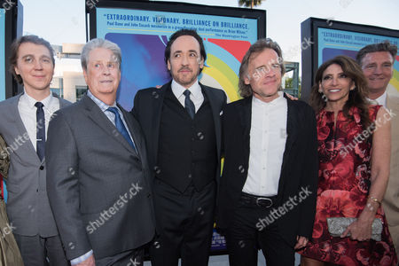 "Paul Dano, from left, Brian Wilson, John Cusack, Bill Pohlad, Claire Rudnick Polstein and Jim Lefkowitz arrive at the LA Premiere Of ""Love & Mercy"" at the Samuel Goldwyn Theater, in Beverly Hills, Calif"