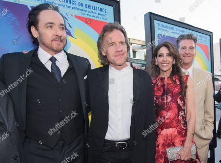 "John Cusack, from left Bill Pohlad, Claire Rudnick Polstein and Jim Lefkowitz arrive at the LA Premiere Of ""Love & Mercy"" at the Samuel Goldwyn Theater, in Beverly Hills, Calif"