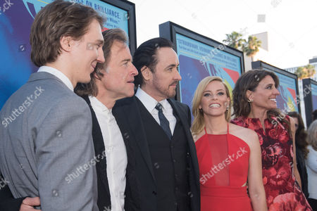 "Paul Dano, from left, Bill Pohlad, John Cusack, Elizabeth Banks and Claire Rudnick Polstein arrive at the LA Premiere Of ""Love & Mercy"" at the Samuel Goldwyn Theater, in Beverly Hills, Calif"