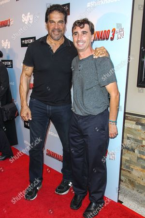 "Lou Ferrigno, left, and director Anthony C. Ferrante attend the ""Sharknado 3: Oh Hell No!"" premiere at iPic Theaters Westwood on in Los Angeles"