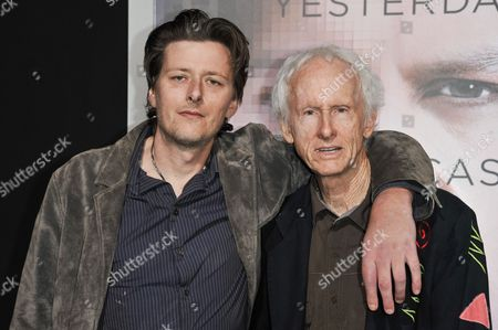 """Robby Krieger, right, and Waylon Krieger arrive at the LA Premiere Of """"Transcendence"""", in Los Angeles"""