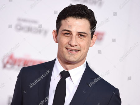 "Enver Gjokaj arrives at the Los Angeles premiere of ""Avengers: Age Of Ultron"" at the Dolby Theatre on"