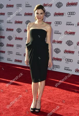 "Thea Andrews arrives at the Los Angeles premiere of ""Avengers: Age Of Ultron"" at the Dolby Theatre on"