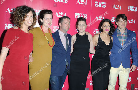 Elizabeth Holmes, from left, Gaby Hoffman, Gabe Liedman, Gillian Robespierre, Jenny Slate, and Jake Lacy arrive at the LA Special Screening of Obvious Child at The Arclight Theater, in Los Angeles