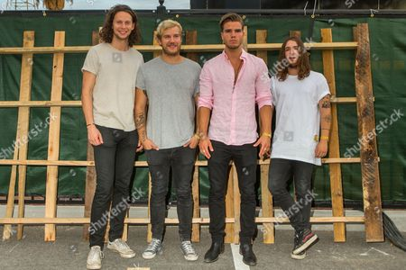 Rubin Pollock, from left, Daniel Kristjansson, JJ Julius Son, and David Antonsson of Kaleo pose backstage during the Life is Beautiful festival on in Las Vegas